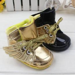 bebê menino sapatos asas Desconto sapatas das meninas dos meninos do bebê Sapatas dos primeiros caminhantes da asa do anjo / lantejoulas 0-18Meses