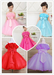 Wholesale Dresses Ornaments - Princess Dress Bubble Skirt Princess Dress Girls Elegant Flower Ornament and Bowknot Bridesmaid Dress Kids Net Yarn and Waist Slim Bubble Sk