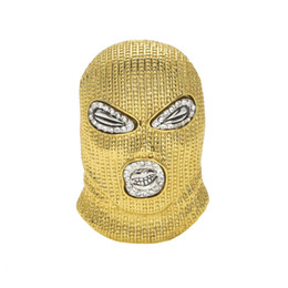 Wholesale quality gold plated - Hip Hop CSGO Pendant Necklace Mens Punk Style 18K Alloy Gold Silver Plated Mask Head Charm Pendant High Quality Cuban Chain