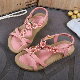 Wholesale Rhinestones Flower Flip Flops - Plus size womens sandals comfortable flower rhinestone shoes beach flip flops for women bohemian sandals size 35 to 40 41