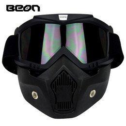 Wholesale Helmets Cross Country - 2016 New Authentic BEON Retro Harley models off-road motorcycle helmet goggles Cross country anti-fog goggles mask black color