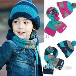 Wholesale Beanie Gloves - Wholesale-Warm Winter Baby Hat + Scarf  Kid Hats Set Knitting Cap Boys Fashion Beanie Wholesale Free Shipping Drop Shipping Christmas Gift