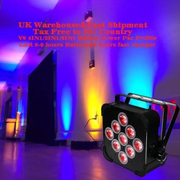 Wholesale Battery Par - Rasha Hot Sale 9*10W 4in1 RGBW Battery Powered LED Par Light Slim Flat Par Projector for Party Event