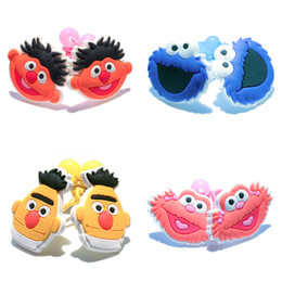 Wholesale Sesame Street Jewelry - 4 pair Cartoon Sesame Street Girls' Hairbands Baby Girls Kids Headwear Accessories PVC+Elastic Bands Party Gifts Hair Jewelry