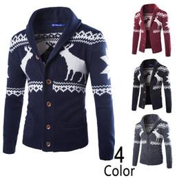 Wholesale Long Christmas Cardigan Sweater - Men Christmas Sweater Cardigan Sweaters Knitted Long Sleeve Men Male Warm Deer Elk Pullover Jackets OOA3764