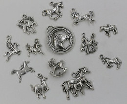 Wholesale Mixed Tibetan Silver Pendant Charms - Hot ! Tibetan Silver Mixed Horse Charm Pendant For Jewelry Making Craft DIY 13- style (002947 )