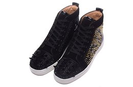 Wholesale Womens Spiked Sneakers - Luxury Brand Red Bottom Sneakers black Suede with Spikes Casual Mens Womens Shoes Black spike Gold silver spike Trainers Footwear Flat Shoes