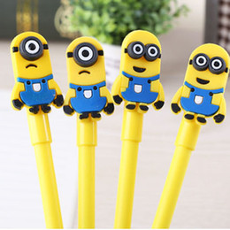 Wholesale Minion Silicone - Cute Despicable Me Minions Gel Pens yellow double single eyes Cartoon gel pen Silicone Minions black Ink pen for child kids gift 240146
