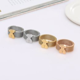 Wholesale Gifts Item China - Anillo oso Stainless steel cute Mesh style ring for women simple design harmless for skin featured item new edition 4 colors