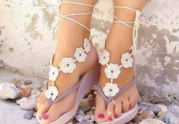 Wholesale Cheap Sandals Wholesale - Beach wedding Black White Crochet wedding Barefoot Sandals Nude shoes Foot jewelry cheap Bridal Lace shoes Sexy Anklet #71328