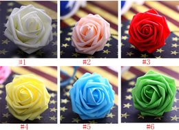 Wholesale Artificial Foam Roses - Wholesale 100pcs 7cm Handmade Artificial Foam Rose Flower Heads For Wedding Decoration Kissing Ball Free Shipping