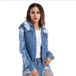 Wholesale Jean Hollow - Wholesale free shipping autumn women blue color retro ripped washed hole denim jacket high street jean coat plus size 5XL