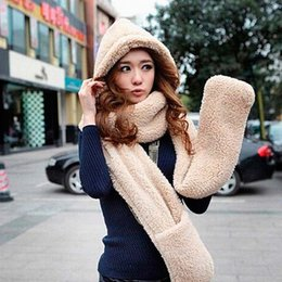 Wholesale Hat Glove Sets Fleece - Wholesale-Women's Winter Fleece Scarf Set 3 In 1 Scarf Hat And Gloves Set