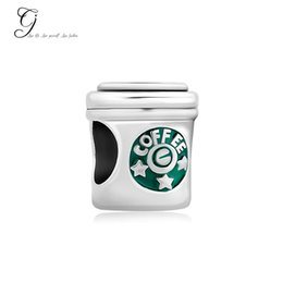 Wholesale Diy Letter Charm - Fits Pandora Charm Bracelet Cup Beads Mom Silver Plated Stars Coffee Cup Loose Charms For Diy European Style Snake Charm Chain
