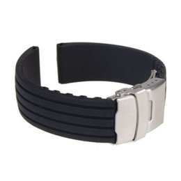 Wholesale Deployment Black Leather Strap - Gofuly 2014 Excellent Style Silicone Rubber Watch Strap Band Deployment Buckle Waterproof New Design