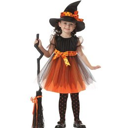 Wholesale New Genius - Magic Witch Kids Halloween Dress Hat American Genius Girls Performance Cosplay Costumes Party Dancing Props Christmas Gift SD632