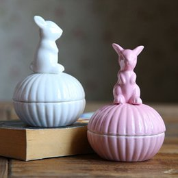 Wholesale Craft Bunnies - Ceramic Jewelry Box Cute bunny crafts vintage Storage Holder Creative Christmas children's gift home Decor simple Solid color 2017 wholesale