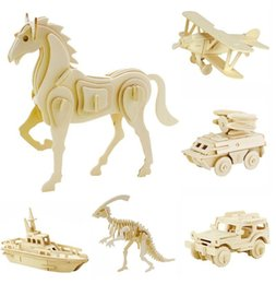 Wholesale Wooden Toy Lion - DIY 3D Models Puzzle Educational Toys Wooden Building Blocks Wood Toy Jigsaw Craft Lion Tank Plane Goat Car Snake Horse Shark Spider