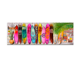 Wholesale Surf Decoration - Bright Color Summer Surfboard Canvas Art Modern Surfing Picture printing Painting on Canvas Wall Hanging Decoration (Unframed)40X120cm