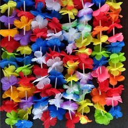 Wholesale beach wedding bouquets - 50pcs Hawaiian Artificial Flowers Leis Garland Necklace Fancy Dress Party Hawaii Beach Fun Flowers Diy Party Beach Decoration