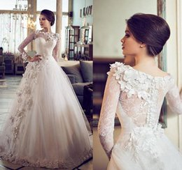 Wholesale Crystal Embellished Wedding Gowns - Custom Vintage Ball Gown Wedding Dresses Sheer Bateau Neckline Lace Long Sleeve Wedding Gown 2015 Flowers Embellished Princess Wedding Dress