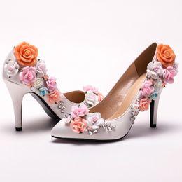 Wholesale Custom Bridesmaid Shoes - Custom Made Elegant Bridal Wedding Shoes White Satin Flower High Heel Lady shoes New Arrived Pointed Toe Women Bridesmaid Shoes