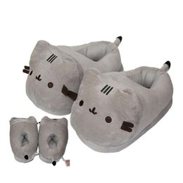 Wholesale Dog Cat Shoes - Hot sale 28cm Cat Plush Slipper Pusheen The Cat Animal Winter Warm Indoor Shoes for Adults