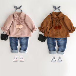 Wholesale Lace Up Winter Coats - Children princess coats Girls pompons lace-up lapel outwears Winter fashion Kids single-breasted long sleeve coats Girls clothes C2041