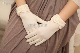 Wholesale Ladies White Gloves Wholesale - Wholesale-2015 spring and summer lady drove UV sunscreen gloves white black cotton short women summer gloves sunscreen lace gloves