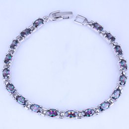 Wholesale Mystic Topaz Sets - Fine Classic Oval Mystic Topaz Silver Bracelets for Womens Chain Length 20 CM Free Gift Bag B0047