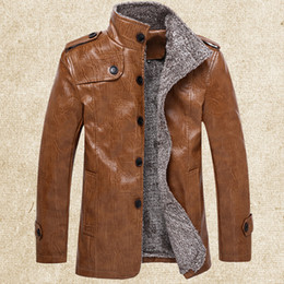 Wholesale Men Brown Leather Jackets - Fall-2016 Winter Men's PU Leather Faux Fur Motorcycle Jacket Plus Velvet Thicken In the Long Section Large Size Leather Jacket Coat