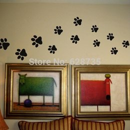 Wholesale Food Art Prints - Paw Print Wall Stickers - 20 Walking Paw Prints Wall Decal Home Art Decor Dog Cat Food Dish Room House Bowl Sticker ,p2052