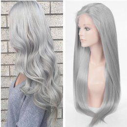 human hair heating Coupons - Grey Wig Front Lace Human Hair Silver Grey Straight Wigs Lace Front Wig Heat Resistant Middle Free Part Full Lace Wig For Women