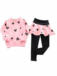Wholesale Winter Suits For Girls - Girls Leggings Set 2 Pcs Heart Pattern Long Sleeve Sweatshirt Kids Clothes Girls cotton sweater T-shirt + skirt Leggings suit for 3~11 years