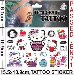 Wholesale Cartoon Temporary Tattoos - Wholesale- New Design Tattoo Cat Cartoon Temporary Tattoos Sticker for Kids Birthday Party Decoration
