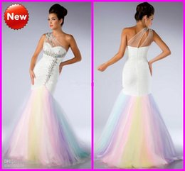 Wholesale Colorful Mermaid Pageant Dresses - 2015 prom dresses Colorful Rainbow Mermaid Prom Dresses Sexy Sheer One-Shoulder Shiny Colorful Beaded Crystals Pageant