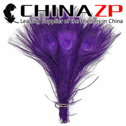 Wholesale Plumage Feathers - Top Class Plumage CHINAZP Crafts Factory Wholesale 25~30cm(10~12inch) Colorful Dyed Purple Full Eye Peacock tail Feathers