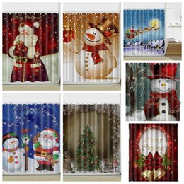 Wholesale Modern Pattern Curtains - 9 Styles 165*180cm Snowman Shower Curtain Merry Christmas Snowman Pattern Bathroom Shower Curtain Christmas Bath Curtains CCA7852 10pcs