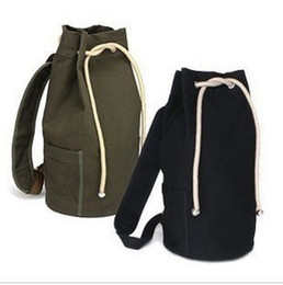 Wholesale Drawstring Canvas Backpack - 2016 New men drawstring backpack over the shoulder unisex Fashionable concise basketball bags canvas bucket bag