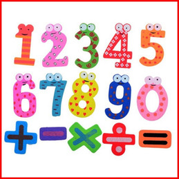Wholesale Wooden Magnets Kids - Hot Selling Set 15 Number Funky Wooden Fridge Colorful Magnets Numbers Magnetic Education Learn Cute Kid Baby Educational Toys Free Shipping