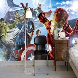 Wholesale Custom Wallpaper Designs - Avengers Boys Bedroom Photo Wallpaper Custom 3D Wall Murals Marvel Comics wallpaper Boy Children's room Interior Design Room decor Superhero