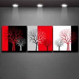 Wholesale tree life paintings - Red Black White Three Colors Tree Picture Oil Painting Prints on Canvas Mural Art Home Living Office Wall Decor