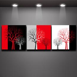 Arbre blanc toile art mural en Ligne-Rouge Noir Blanc Trois Couleurs Arbre Photo Peinture À L'huile Imprime sur Toile Murale Art Home Living Bureau Mur Décor