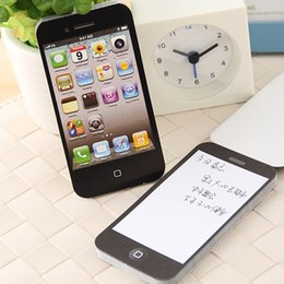 Wholesale Shaped Paper Pads - Fashion Unique Sticky Notes Black Iphone Shape Sticky Post-It Note Paper Cell Phone Memo Pad Gift Paper Stickers