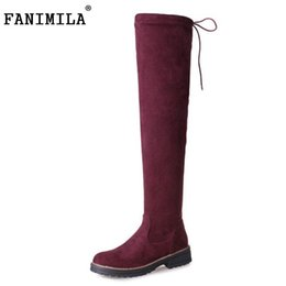 Wholesale Warm Long Shoes For Woman - Size 33-43 Women Over Knee Boots Flats Boots With Warm Fur Shoes For Cold Winter Boots Long Botas For Women Footwears