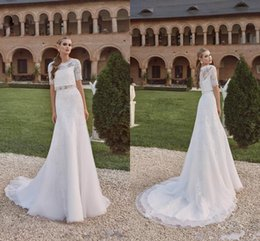 Wholesale Wedding Dress Beach Sexy Aline - 2016 New Two Pieces Beach Lace Wedding Dresses Short Sleeves Sheer Bridal Gowns Applique Vintage Custom Made Boho Sheer Aline Wedding Gowns