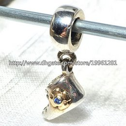 Wholesale Baby Blue Necklace - High-quality Baby Bootie Dangle Charm 925 Sterling Silver & 14K Real Gold Bead with Blue Cz Fit European Pandora Jewelry Bracelets Necklaces