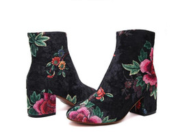Wholesale Black Suede Ankle Bootie - Fashionable Women's Winter Boots Suede Women Shoes For Women Embroidered Prints Bootie Round Ladies Shoes. XZ-052