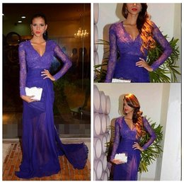 Wholesale Purple V Neck - Hot Elegant Purple Lace Chiffon Long Sleeves Evening Dresses 2016 Sexy V-Neck Appliques Side Slit Formal Party Dress Prom Dress Sweep Train
