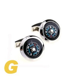 Wholesale Copper Compass - High Quality New Classic Silver Copper Mens Wedding Cufflinks Novelty Rare Fancy Compass & Clean Cloth 155708